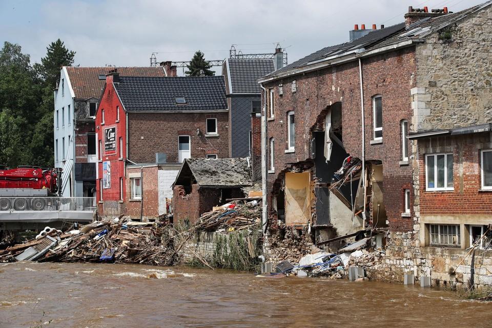 Ingestorte huizen in Pepinster